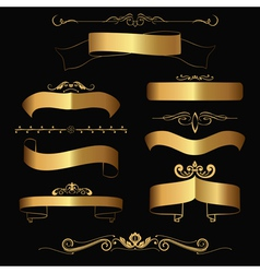 Gold ribbons and ornaments vector
