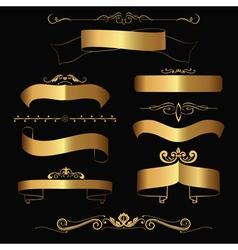 gold ribbons and ornaments vector image vector image