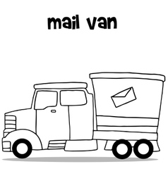 Hand draw of mail van transportation vector