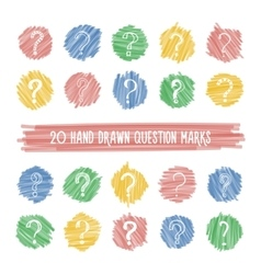 Hand drawn question marks on highlight spots set vector image