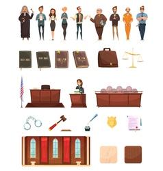 Law Justice Retro Cartoon Icons Set vector image vector image