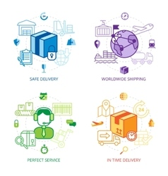 Logistics Design Line Icons Set vector image
