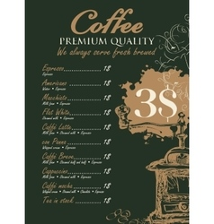 Menu for coffee grinder vector