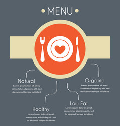 menu template for helthy restaurant infographics vector image vector image