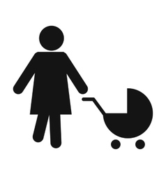 Mother with baby carriage icon vector
