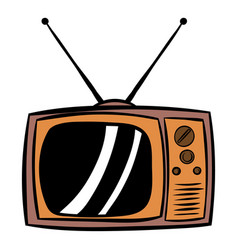 Old tv icon cartoon vector