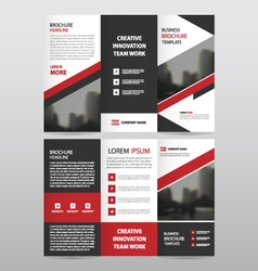 Red triangle business trifold leaflet brochure set vector