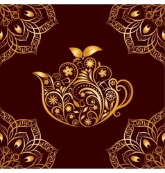 Seamless gold floral teapot and mandala vector