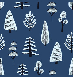 seamless pattern with various hand drawn winter vector image vector image