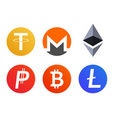 Set of cryptocurrency coins icons symbols vector
