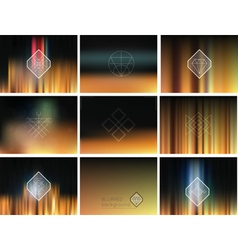 Set of geometric hipster shapes and blur vector