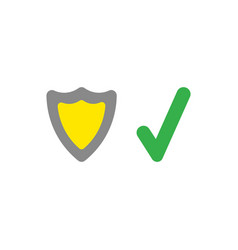 shield guard with check mark icon on white with vector image vector image