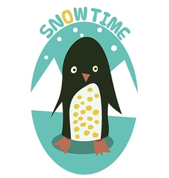 Snow time with penguin vector