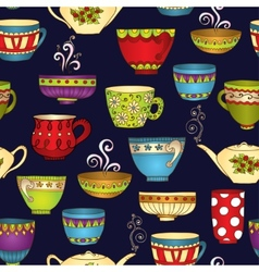 Tea coffee and sweets doodle seamless pattern vector image vector image
