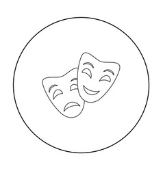 Theater masks icon in outline style isolated on vector