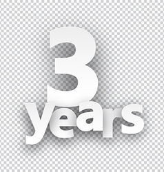 Three years paper sign vector image vector image