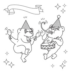 Two funny bears in party hats black line on whit vector