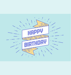 vintage ribbon with text happy birthday vector image vector image
