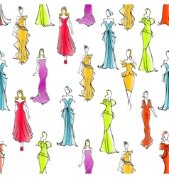 Women in formal wear seamless pattern background vector image vector image