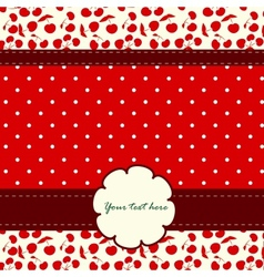 Card with cherries and nice pattern vector image