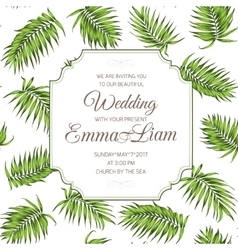 Wedding invitation card greenery palm leaves rsvp vector