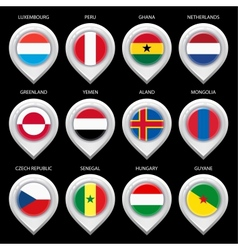 Map marker with flag-set fifth vector image