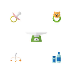 Flat infant set of mobile children scales rattle vector