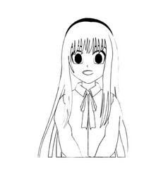 Cute young girl anime or manga icon image vector