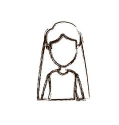 Blurred silhouette caricature faceless half body vector