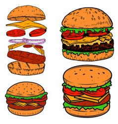Set of burger design elements for postermenu vector