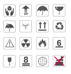Fragile symbol and symbol of packing box icons set vector