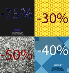 30 50 40 icon set of percent discount on abstract vector