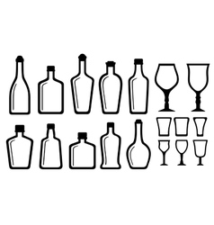 Set alcohol bottle and glass vector