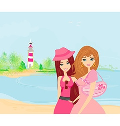 Beauty travel girls vector