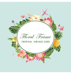 Floral frame card vector