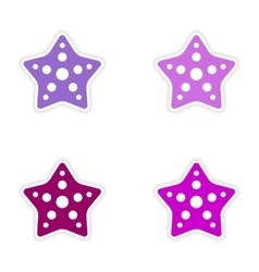 Assembly realistic sticker design on paper star vector