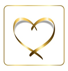 Gold heart ribbon 1 vector