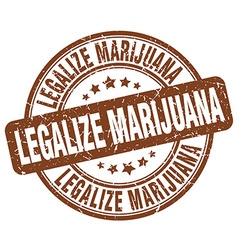 Legalize marijuana brown grunge round vintage vector