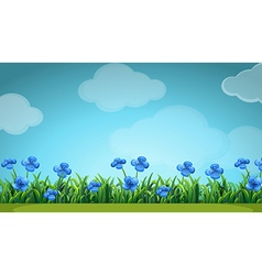 Scene with blue flowers in garden vector