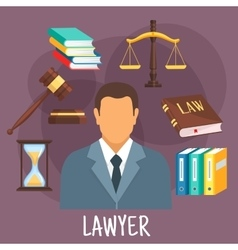 Lawyer profession flat icon with justice symbols vector