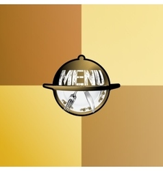 A dish for a meal with a plate and a knife vector image