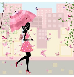 beautiful girl with an umbrella in the city vector image vector image
