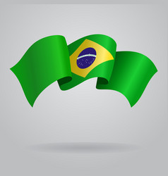 Brazilian waving flag vector