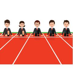 Businessman and businesswoman lined up getting vector
