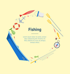 Cartoon fishing banner card circle vector