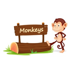 Cartoon zoo monkey sign vector