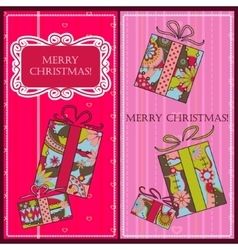 Christmas cards with gifts vector image vector image