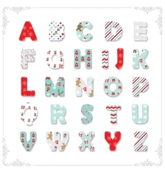 Christmas textile font vector image vector image