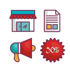 Commercial business flat icons vector