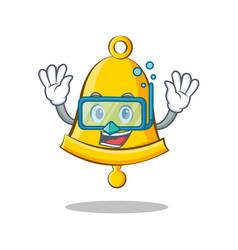 Diving school bell character cartoon vector